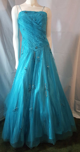 Aqua, long dress, sleeveless, corset, front view, Petticoat included, prom, special occasion, quince, quinceanera, sweet sixteen, beads