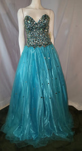 Mint Long Dress, front view, sleeveless, rhinestone, corset, petticoat, zipper
