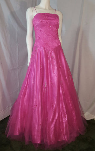 Pink Long Dress, front view, sleveeless. rhinestone,puffy skirt, corset, petticoat, zipper
