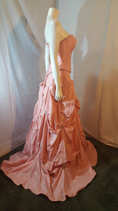 Coral long dress,  side view, sleevelees, corset , puffy skirt
