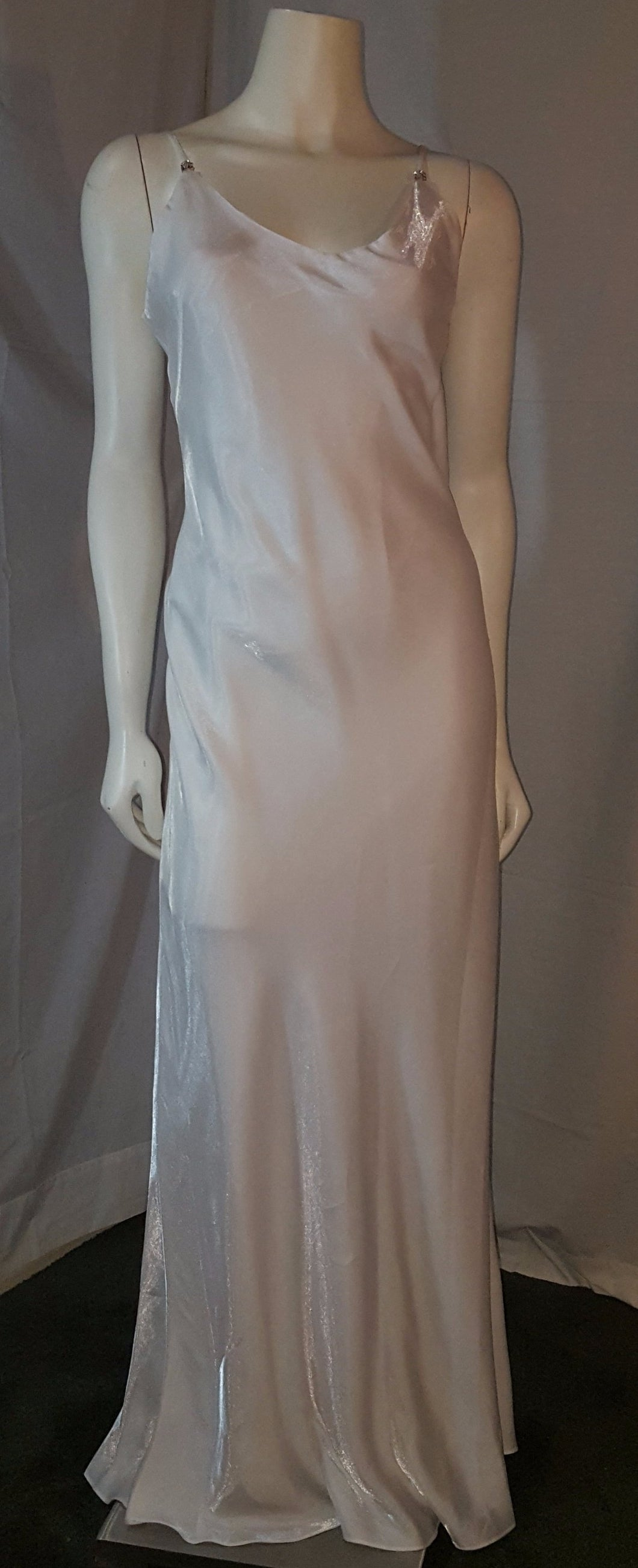 Ivory long dress, front view, sleeveless, , zipper