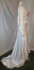 Ivory petite long dress, side view,  sleveless, rhinestone,  long tail, zipper