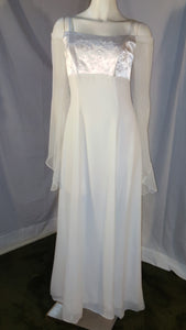 Ivory long dress, front view, long sleeves, rhinestone , zipper