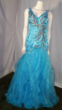 Aqua, long dress, sleeveless, front view, rhinestone design, ruffled bottom