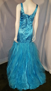 Aqua, long dress, sleeveless, back view, rhinestone design, ruffled bottom, corset in back