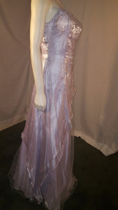Purple Long Dress, side view, sleeveless, flower design, rhinestone,  zipper