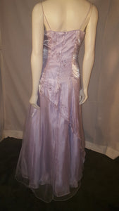 Purple Long Dress, back view, sleeveless, rhiestone, flower design,  zipper
