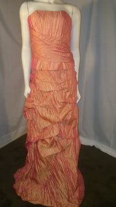 Orange Long Dress, front view. sleeveless, zipper