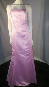 Pink Long Dress, front view, sleveeless , zipper