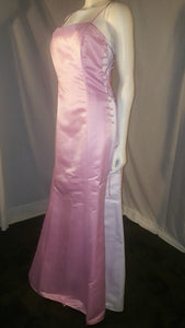 Pink Long Dress, side view, sleveeless , zipper