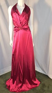 Red Long Dress, front view, halter neck, sleevelees, open back, zipper
