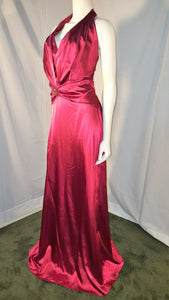 Red Long Dress, side view, halter neck, sleevelees, open back, zipper