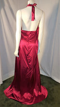 Red Long Dress, back view, halter neck, sleevelees, open back, zipper
