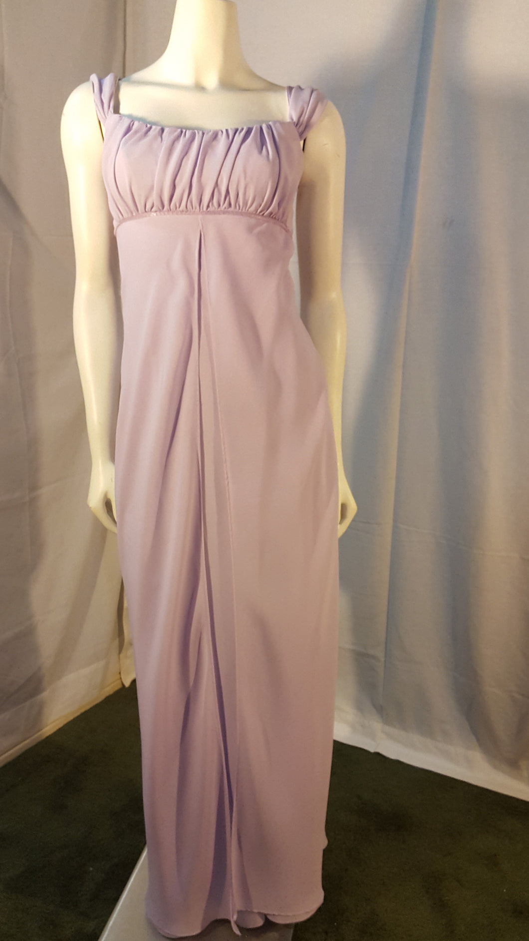 Purple Long Dress, front view, sleeveless,  zipper