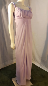 Purple Long Dress, side view, sleeveless,  zipper