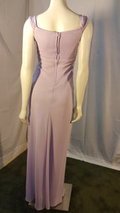 Purple Long Dress, back view, sleeveless, zipper