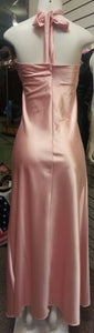 Pink Long Dress, back view, sleveeless, halter neck, zipper