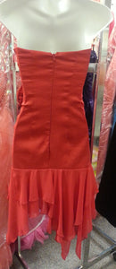 Red Short Dress, back view, straplees, flower design. zipper