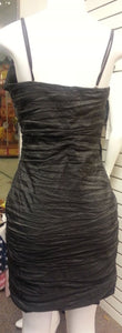Black, short dress, back view, sleeveless, bow with rhinestone, zipper