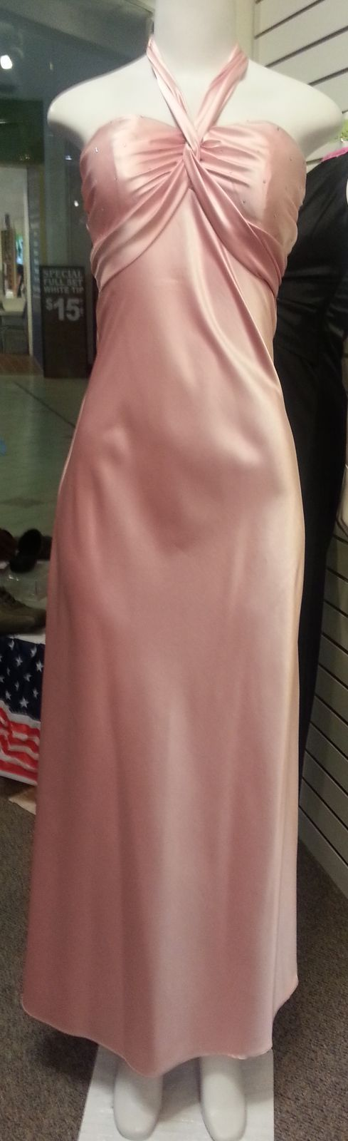 Pink Long Dress, front view, sleveeless, halter neck,  zipper