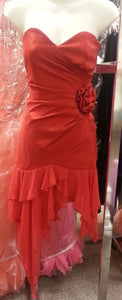 Red Short Dress, front view, straplees, flower design. zipper