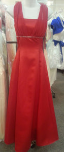 Red Long Dress, front view, sleevelees, zipper