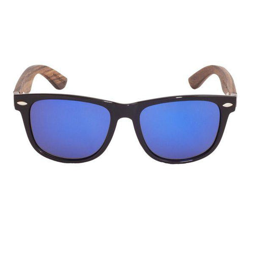 Ebony Wood Wayfarer Sunglasses (Black with Blue REVO Lens)