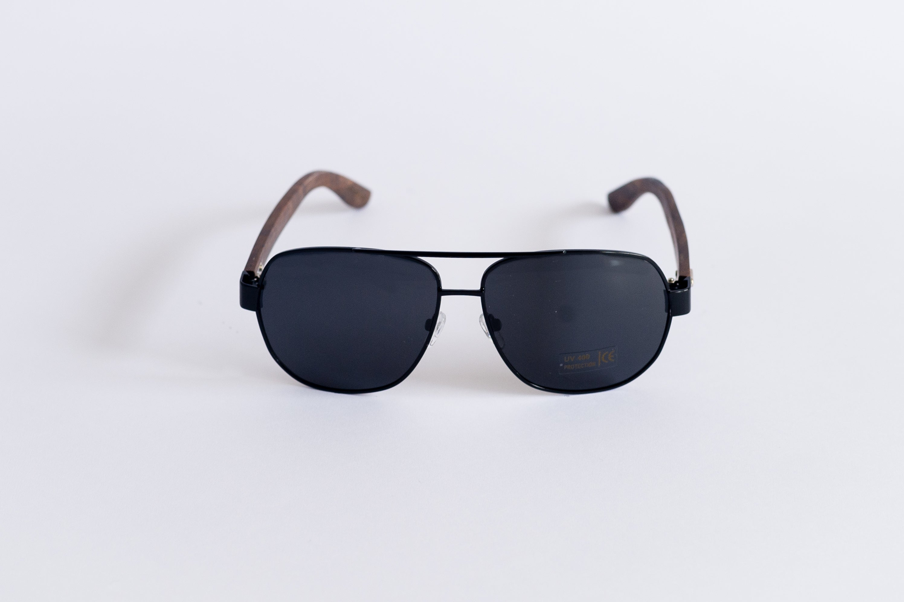Ebony Wood Aviator  Sunglasses (Black)