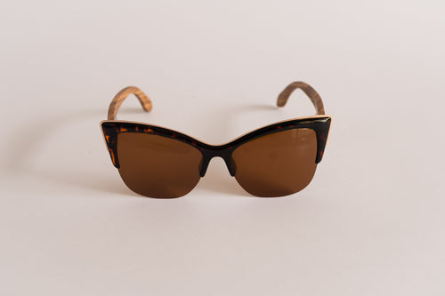 Zebra Wood Cat-Eye Sunglasses (Tortoise Shell)
