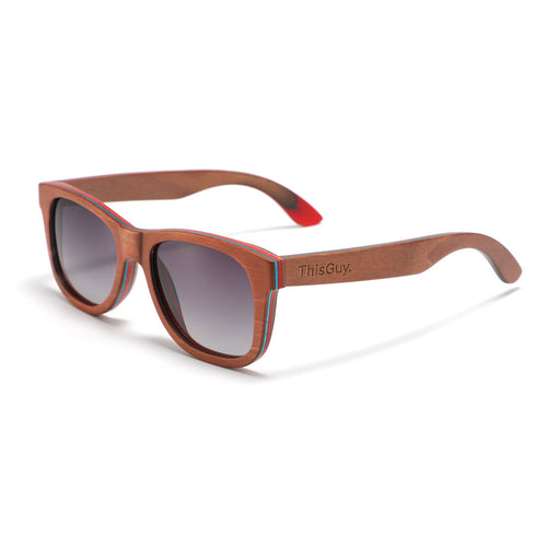 Recycled Skateboard Wood Wayfarer Sunglasses (Brown Full Frame)