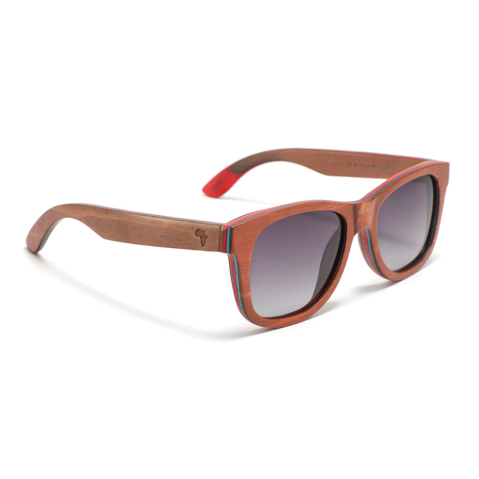Recycled Skateboard Wood Wayfarer Sunglasses (Brown, Full Frame)