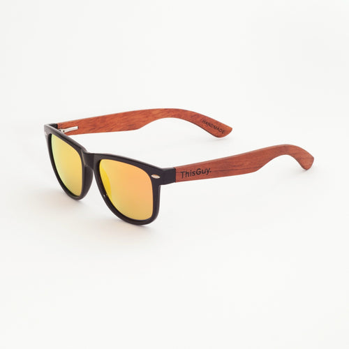 Rose Wood Wayfarer Sunglasses (Black with Red Revo Lens)