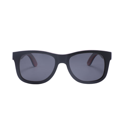 Recycled Skateboard Wood Wayfarer Sunglasses (Black, Full Frame)
