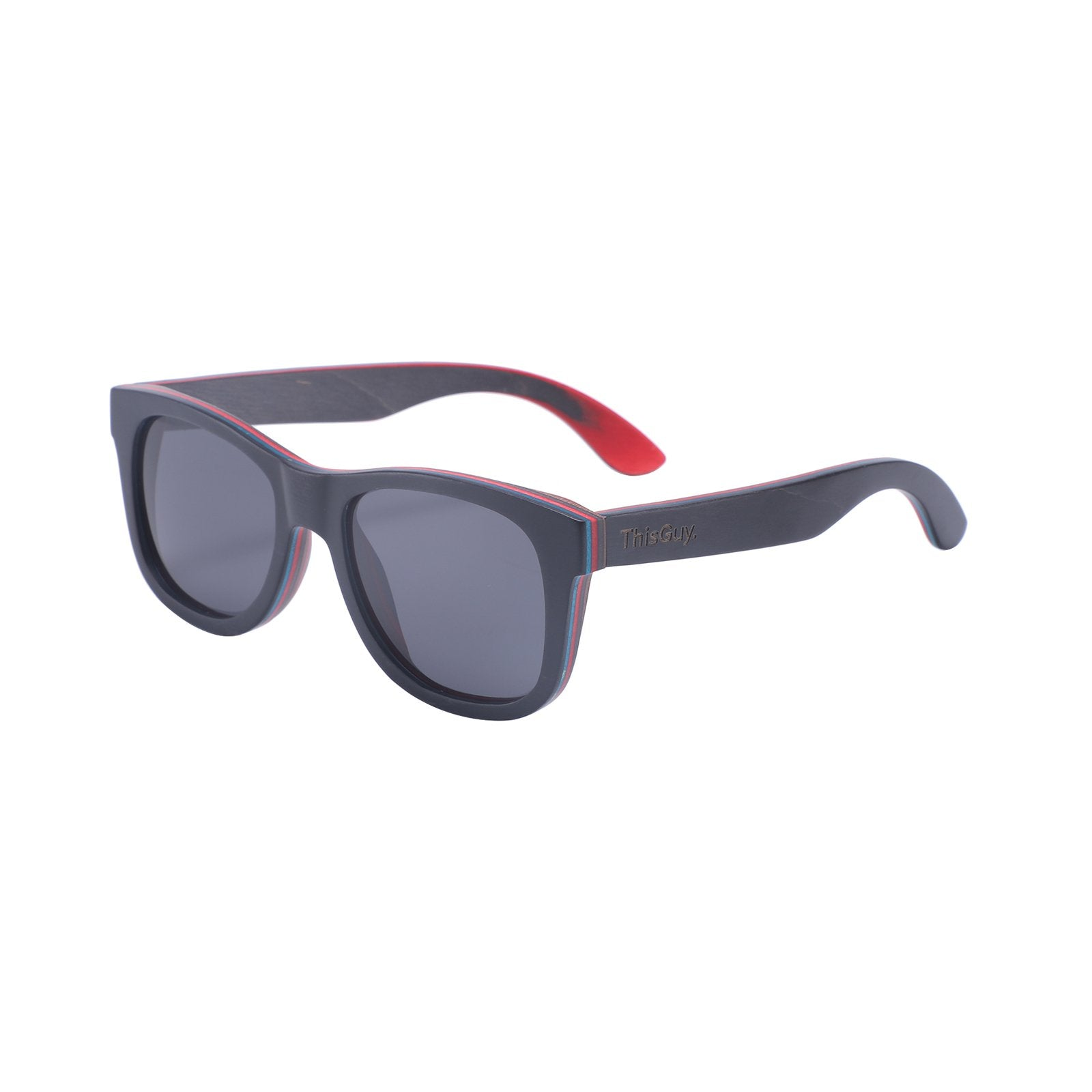 Recycled Skateboard Wood Wayfarer Sunglasses (Black Full Frame)