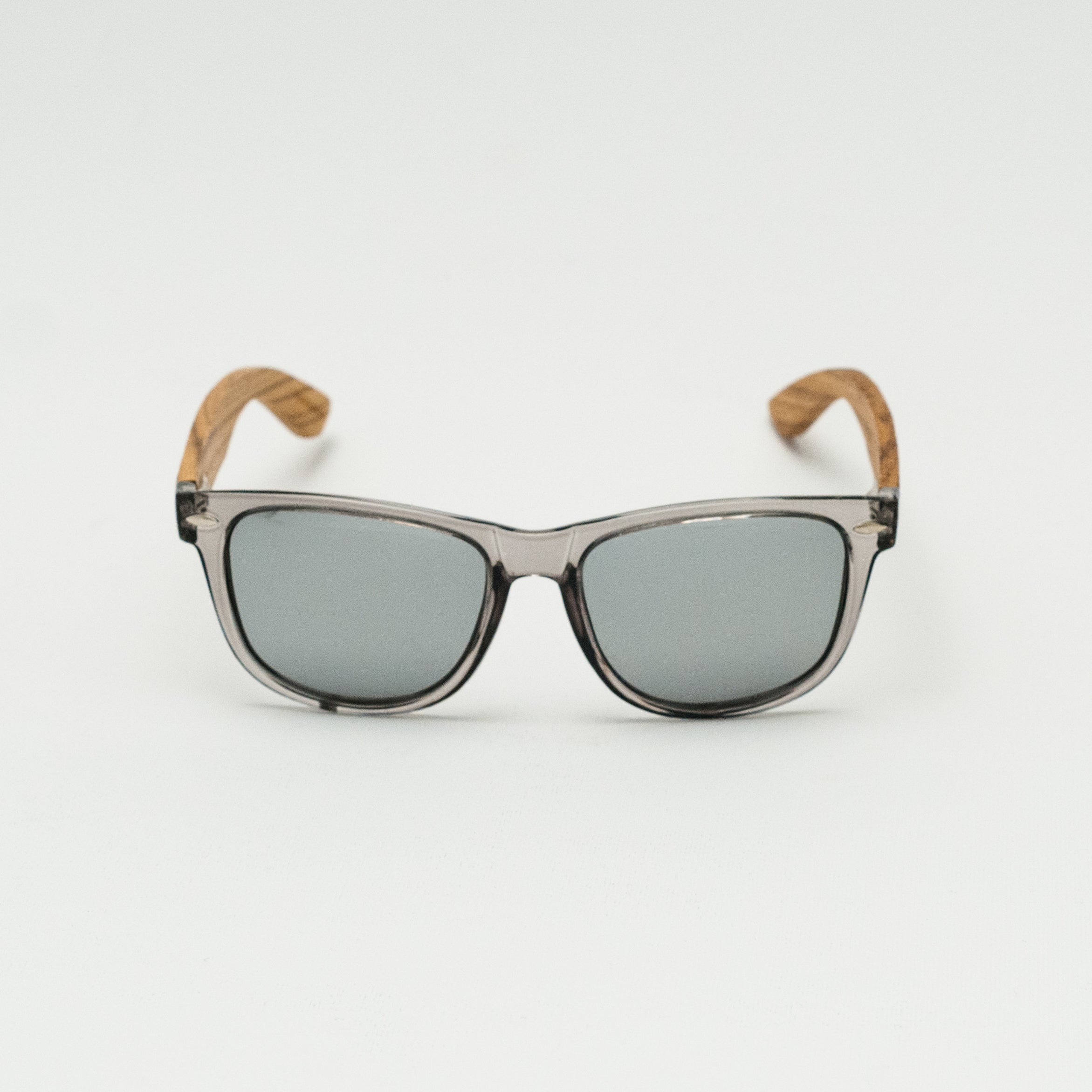 Zebra Wood Wayfarer Sunglasses(Grey with Silver REVO Lens)
