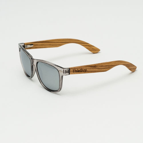 Polarized Zebra Wood Wayfarer - Grey with Silver REVO Lens