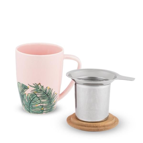 Bailey 12 oz. Tropical Ceramic Tea Mug and Infuser by pinky up
