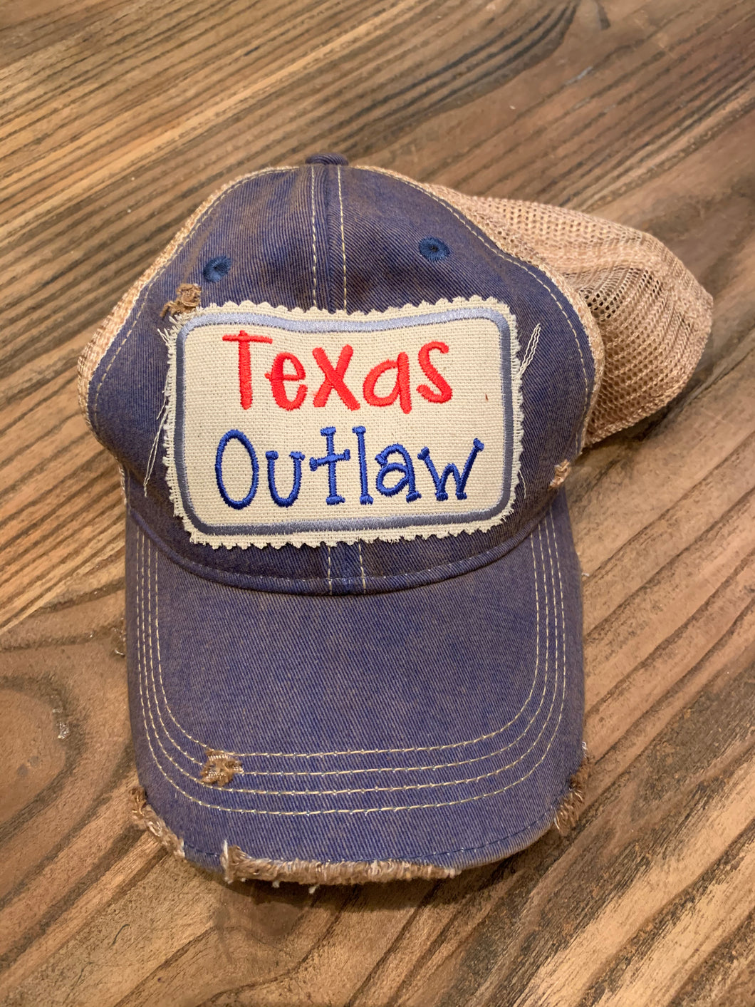 Texas Outlaw on Vintage Navy Hat