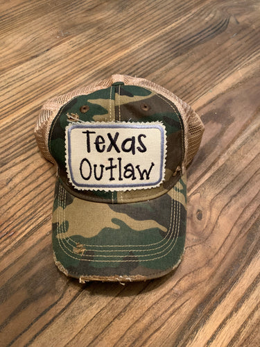 Texas Outlaw hat on Camo
