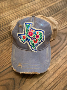 Texas Floral Patch on Light Blue Distressed Hat