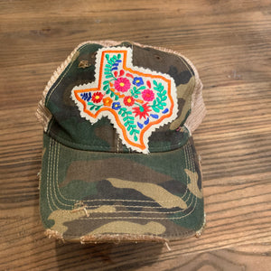 Texas Floral on Camo Distressed Hat