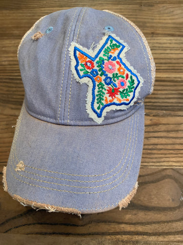 Texas Floral Hat on light blue cap