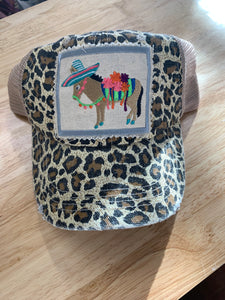 Donkey Patch on Animal Print Hat, Ladies Hat