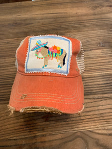 Fiesta Donkey on orange hat