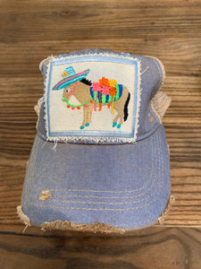 Fiesta Donkey on light blue hat
