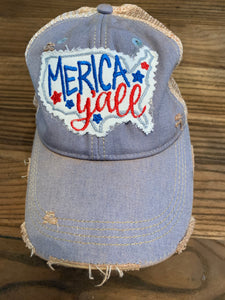 Merica y'all on Light Blue Hat