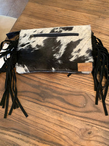 Handle and crossbody clutch Cowhide Purse