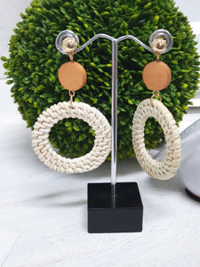 RATTAN HOOP DROP EARRINGS