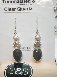 TOURMALATED & CLEAR QUARTZ EARRINGS