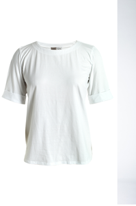 Plain tee with cuff sleeves